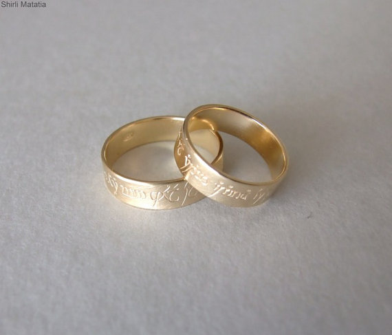 unique white engraved ring hand inspired gold rings worked wedding elvish specifications