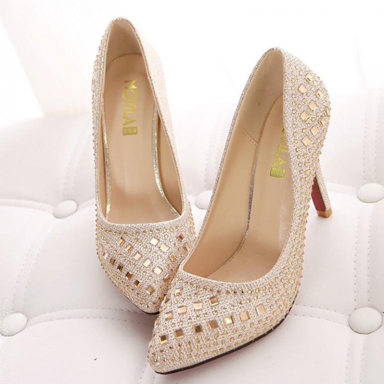 10cm womens wedding stiletto heel with rhinestone shoe 01